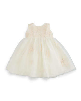 Sleeveless Taffeta & Tulle Dress, Ivory/Pink, Size 6-24 Months