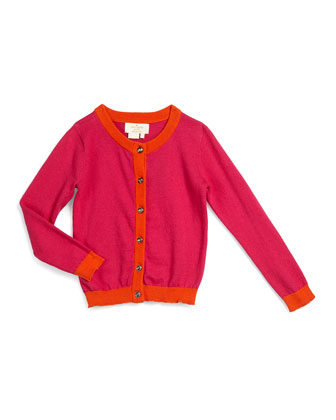 contrast-trim sofia button-front cardigan, sweetheart pink, size 2-6