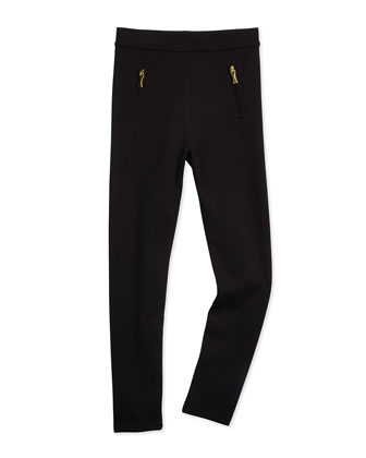 zip-trim leggings, black, size s-xl