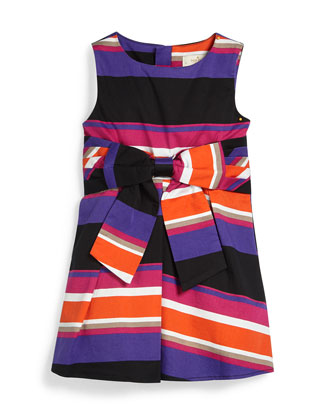 sleeveless jillian striped dress, multicolor, size 7-14