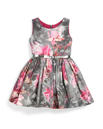 Sleeveless Floral A-Line Dress, Pink/Gray, Size 12-24 Months