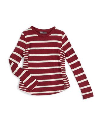 Long-Sleeve Striped Jersey-Knit Top, Merlot, Size 2-6