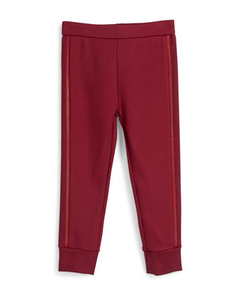 Faux-Leather-Trim Ponte Track Pants, Merlot, Size 2-6