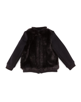 Faux-Fur-Trim Bomber Jacket, Black, Size S-XL