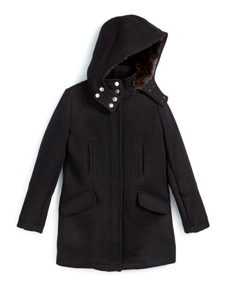 Hooded Wool Parka, Black, Size S-XL