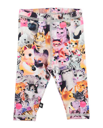 Stefanie Cat-Print Leggings, Multicolor, Size 12M-2