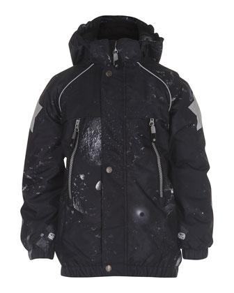 Printed Waterproof Jacket, Black, Size 4-10