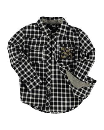 Reinhardt Check Poplin Shirt, Black/White, Size 3-14
