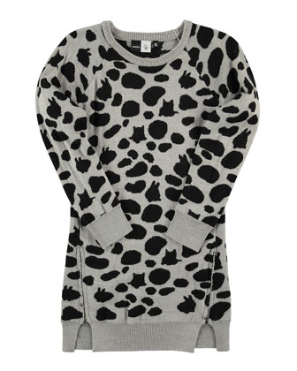 Cilja Knit Animal-Print Shift Dress, Gray/Black, Size 5-14