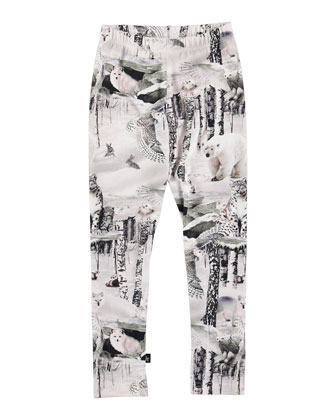 Niki Wildlife Leggings, White, Size 4-10