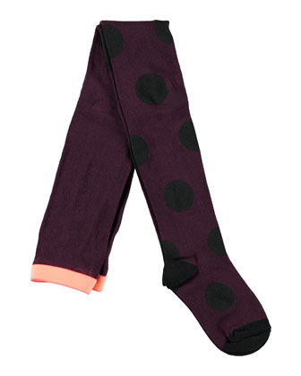Polka-Dot Tights, Black Grape, Size 9M-12