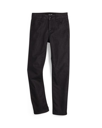 Terry-Lined Slim-Fit Jeans, Black