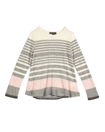 Long-Sleeve Striped Jersey Tunic, Mist, Size 2-6