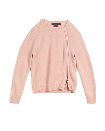 Asymmetric-Zip Pullover Sweater, Pink Rose, Size 2-6