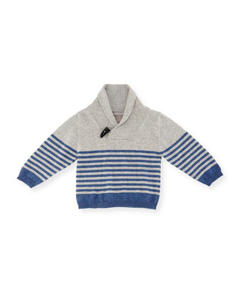 Striped Cashmere-Blend Pullover Sweater, Gray, Size 6M-3