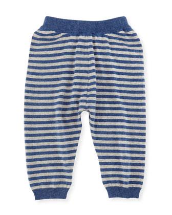 Striped Cashmere-Blend Knit Pants, Indigo Navy/Gray, Size 6M-3