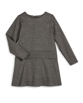 Long-Sleeve Knit Cummerbund Shift Dress, Carbon, Size 2-6