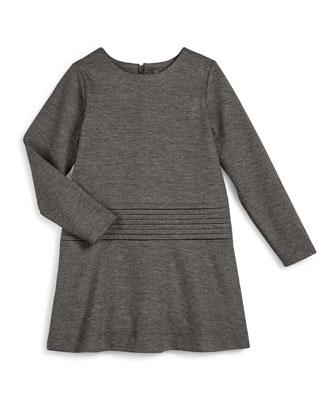 Long-Sleeve Knit Cummerbund Shift Dress, Carbon, Size S-XL