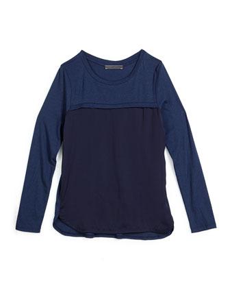 Long-Sleeve Combo Tee, Blue Marine, Size S-XL
