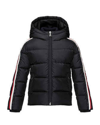 Odile Hooded Down Coat, Navy, Size 2-3