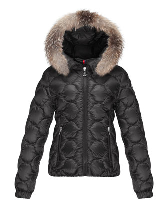 Morgaine Fur-Trim Hooded Down Coat, Black, Size 8-14