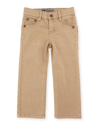 Brayden Classic Twill Straight-Leg Pants, Washed Khaki, Size 2-7
