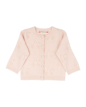 Cashmere Pointelle-Knit Cardigan, Size 12 Months