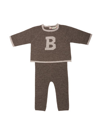 Wool Pajama Top & Pants, Gray, Size 12 Months