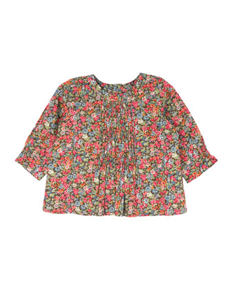Shirred Floral-Print Blouse, Raspberry, Size 18M-2