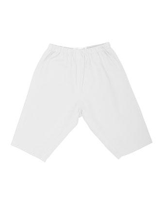 Elastic-Waist Straight-Leg Pants, Pearl, Size 18M-2Y