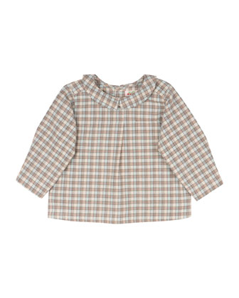 Plaid Poplin Blouse, Light Blue/Tan, Size 6 Months