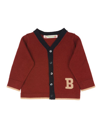 Tipped Wool Cardigan, Red, Size 6 Months
