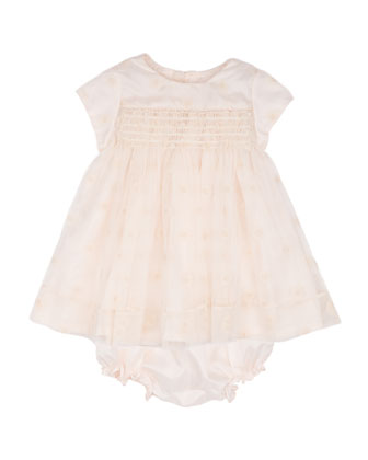 Embroidered Floral Cap-Sleeve Dress & Bloomers, Cream