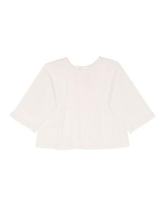 Poplin Lace-Trim Blouse, White, Size 6-12 Months