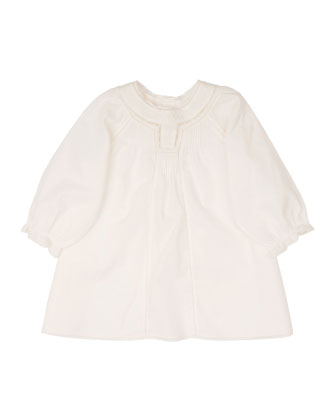 Poplin Lace-Trim Shift Dress, White, Size 6-12 Months