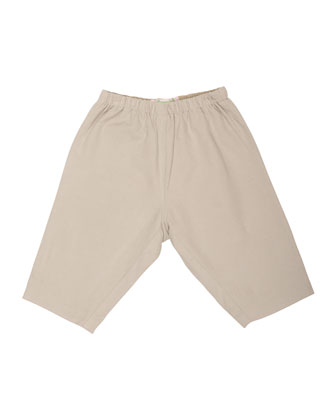 Elastic-Waist Straight-Leg Pants, Pearl, Size 6-12 Months