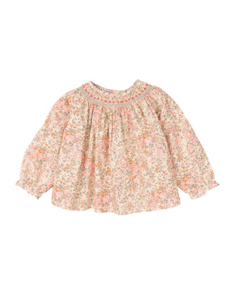 Long-Sleeve Floral-Print Cotton Blouse, Pale Pink, Size 6-12 Months