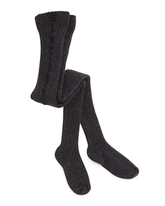 Ribbed Cotton-Blend Tights, Gray, 6M-2