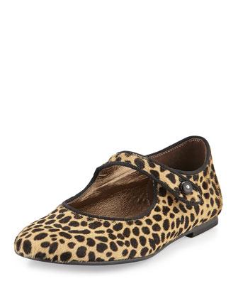 Leopard-Print Mary Jane, Camel, Girls' 8