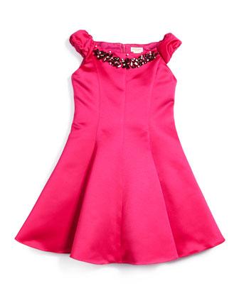 Sleeveless Satin Swing Dress, Fuchsia, Size 8-14