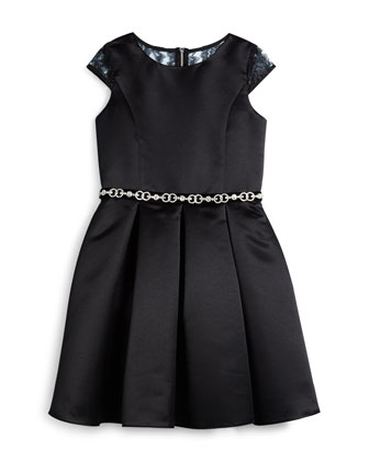 Pleated Satin Lace-Trim Dress, Black, Size 8-14