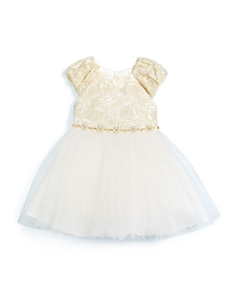 Corded Lace & Tulle Dress, Ivory, Size 2-6