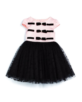 Cap-Sleeve Colorblock Satin & Tulle Dress, Pink/Black, Size 2-6