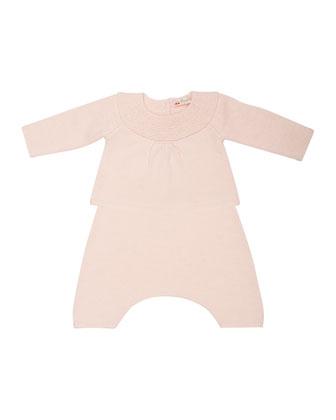 Cashmere Knit Top & Pants, Pale Pink, Size Newborn