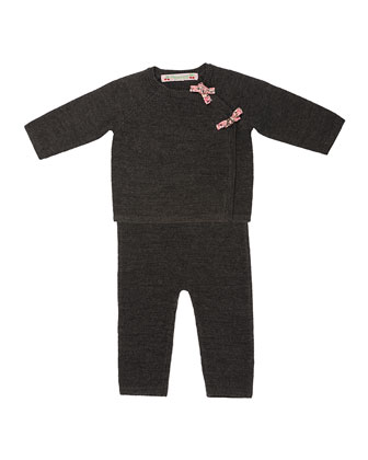 Wool Long-Sleeve Top & Pants, Gray, Size 12 Months