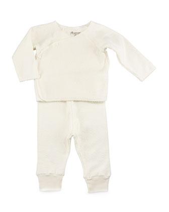 Long-Sleeve Fleece Top & Pants, White, Size Newborn-6 Months