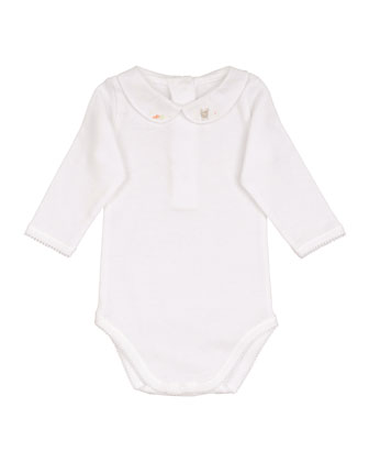 Peter Pan-Collar Cotton Bodysuit, Size Newborn-18 Months