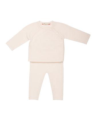 Knit Cashmere Long-Sleeve Top & Pants, Size 3 Months