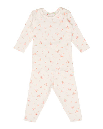 Floral Two-Piece Pajama Set, Milky White, Size 6-24 Months