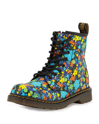 Delaney Printed Leather Military Boot, Black/Multicolor, Youth